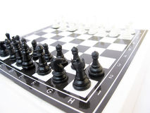 Mind Game. Chess a board game played between two players  each having sixteen pieces: one king, one queen, two rooks, two knights, two bishops, and eight pawns Stock Photography