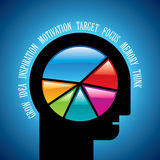 Mind game. Open minded man with colorful pie chart graph inside Royalty Free Stock Images