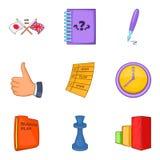 Mind game icons set, cartoon style. Mind game icons set. Cartoon set of 9 mind game vector icons for web isolated on white background Royalty Free Stock Images