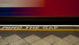 Mind the gap. Typical inscription on the London Underground Royalty Free Stock Image