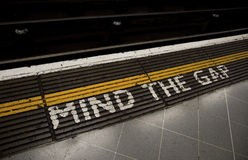 Mind the gap. Warning in the London underground Royalty Free Stock Images
