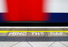 Mind the gap. Warning in the London underground stock photo