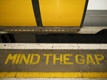 Mind the Gap in London Stock Photo