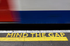 Mind the Gap, London underground. Mind the Gap advice into the London underground Royalty Free Stock Photo