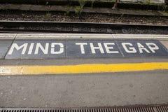 Mind the Gap Platform Sign Royalty Free Stock Photos