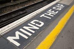 Mind the Gap Platform Sign Stock Image