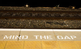 Mind the Gap Sign Stock Photography