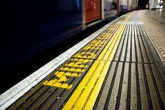 Mind the gap. Sign in the London Underground Stock Photo