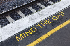 Mind the gap sign Stock Images