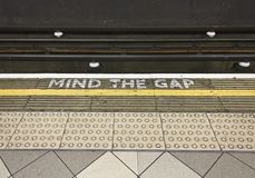 Mind the Gap tipycal sign in London underground Royalty Free Stock Photos