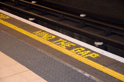 Mind the GAP. Underground in Westminster, London UK Royalty Free Stock Photography