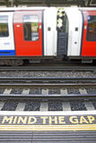 Mind the gap. The mind the gap warning at a London tube station royalty free stock photo