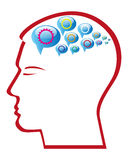 Mind Gear. Illustration art of a mind gear with human head Royalty Free Stock Image