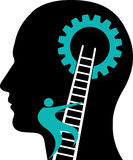 Mind gear logo. Illustration art of a mind gear with isolated background Royalty Free Stock Images