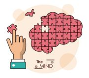 The mind hand brain puzzle piece jigsaw. Vector illustration royalty free illustration