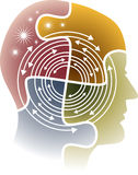 Mind. Head on arrows in a circle Royalty Free Stock Photo