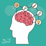 The mind head brain creativity solution knowledge think. Vector illustration Royalty Free Stock Photo
