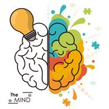 The mind human brain bulb idea analytic creativity. Vector illustration Royalty Free Stock Image