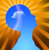 Mind. Human Head with Cloud Radiates Light Royalty Free Stock Image