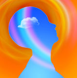 Mind. Human Head with cloud and rainbow Royalty Free Stock Image