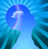 Mind. Human Head with cloud and rainbow Radiates Royalty Free Stock Image