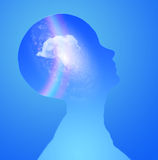 Mind. Human Head with cloud rainbow and stars Royalty Free Stock Photo