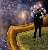 Mind of man. Man in field in fantasy landscape. This image created in entirety by me and is entirely owned by me and is entirely legal for me to sell and Stock Photography