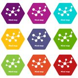 Mind map icons set 9 vector. Mind map icons 9 set coloful isolated on white for web Stock Photo