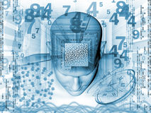 Mind Maze. Collage of human head, maze, digits and various abstract elements on the subject of intelligence, modern technologies and human mind royalty free illustration