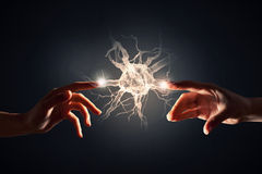 Mind and mental health. Close up of human hand touching with finger human brain Stock Photos