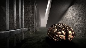 The mind of monster inside prison cell 3d rendering Royalty Free Stock Photography