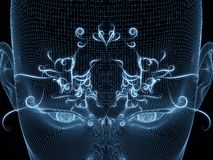 Mind Oscillation. Frame of Mind series. Artistic background made of human face wire-frame and fractal elements for use with projects on mind, reason, thought Royalty Free Stock Photography