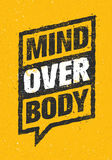 Mind Over Body. Sport And Fitness Creative Motivation Vector Design. Typography Banner On Rust Background.  royalty free illustration