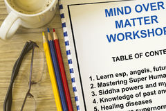 Mind over matter seminar. And workshop - with cover page Royalty Free Stock Images