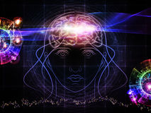 Mind power. Backdrop composed of head outlines, lights and abstract design elements and suitable for use on intelligence,  consciousness, logical thinking Stock Photos