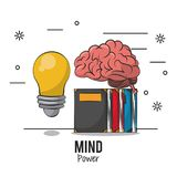 Mind power and brain. With books and bulb vector illustration graphic design stock illustration