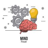 Mind power and brain. With gears and bulb vector illustration graphic design vector illustration