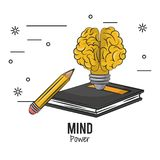 Mind power and brain. Light bulb with book and pencil vector illustration graphic design royalty free illustration