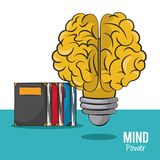 Mind power and brain. Light bulb with books vector illustration graphic design royalty free illustration