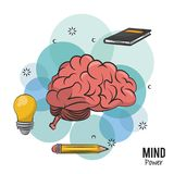 Mind power and brain. With book and pencil vector illustration graphic design royalty free illustration