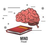 Mind power and brain. With book vector illustration graphic design royalty free illustration