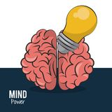 Mind power and brain. With bulb vector illustration graphic design vector illustration