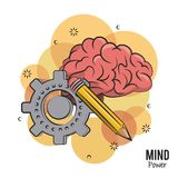 Mind power and brain. With gear and pencil vector illustration graphic design vector illustration