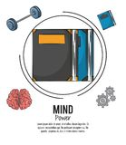 Mind power poster. Mind power and brain template with information vector illustration graphic design royalty free illustration