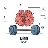 Mind power and brain. With weights vector illustration graphic design royalty free illustration