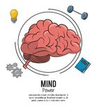 Mind power poster. Mind power and brain template with information vector illustration graphic design stock illustration