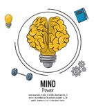 Mind power poster. Mind power and brain template with information vector illustration graphic design vector illustration