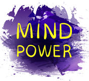 `MIND POWER` text on purple paint splash backdrop. VECTOR hand drawn letters. Yellow words. Stock Images