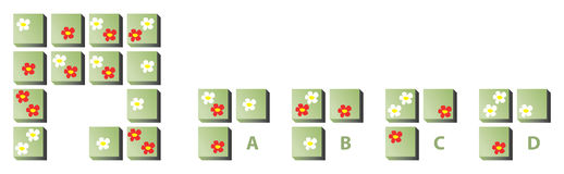 Mind Puzzle with Flowers. Illustration is in eps8  mode! Task: Find the correct missing part! Answer: C (each flower appears three times in each row and column Stock Photos