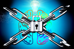 Mind security concept. Steel chain and lock mind security concept  on black Royalty Free Stock Photography